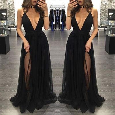 Black deep V-neck tulle long prom dresses 7ab248d2c05b