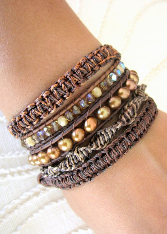Beaded Leather Wrap Bracelet With Freshwater Pearls And