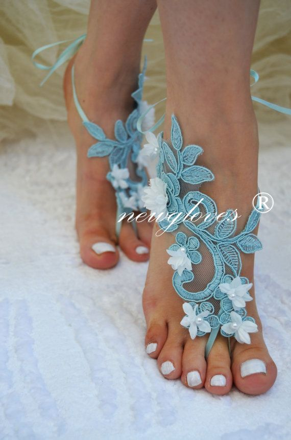 5d0d984a72cc Bridesmaids mint green Beach wedding barefoot sandals by newgloves on Etsy