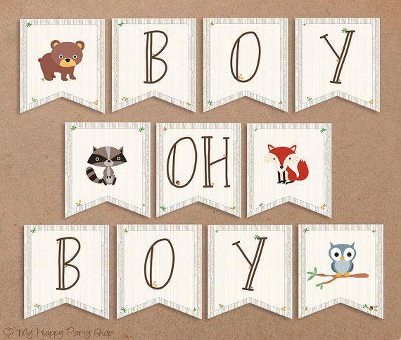 woodland baby shower banner boy oh boy animals sign boy shower printable