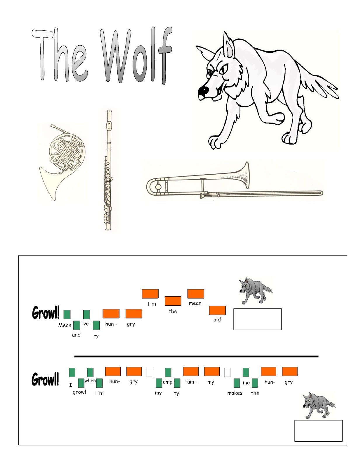 Music Lessons for the Young Child Peter and the Wolf Lesson 2 – Peter and the Wolf Worksheet