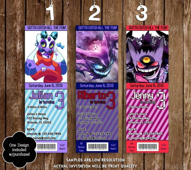 Birthday Pokemon Ghost Birthday Party Ticket Invitation Gotta Catch - ticket invitation template