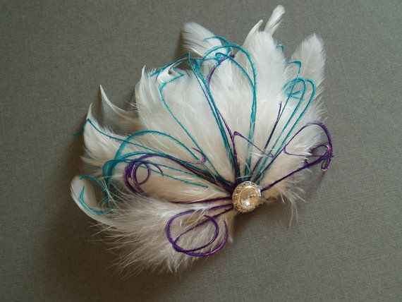 Items similar to Wedding Feather Hair Accessory, Feather Fascinator Bridal Hair PIece Bride White Feather Hair clip - TEAL PURPLE bridesmaid accessories on Etsy#accessories #accessory #bridal #bride #bridesmaid #clip #etsy #fascinator #feather #hair #items #piece #purple #similar #teal #wedding #white