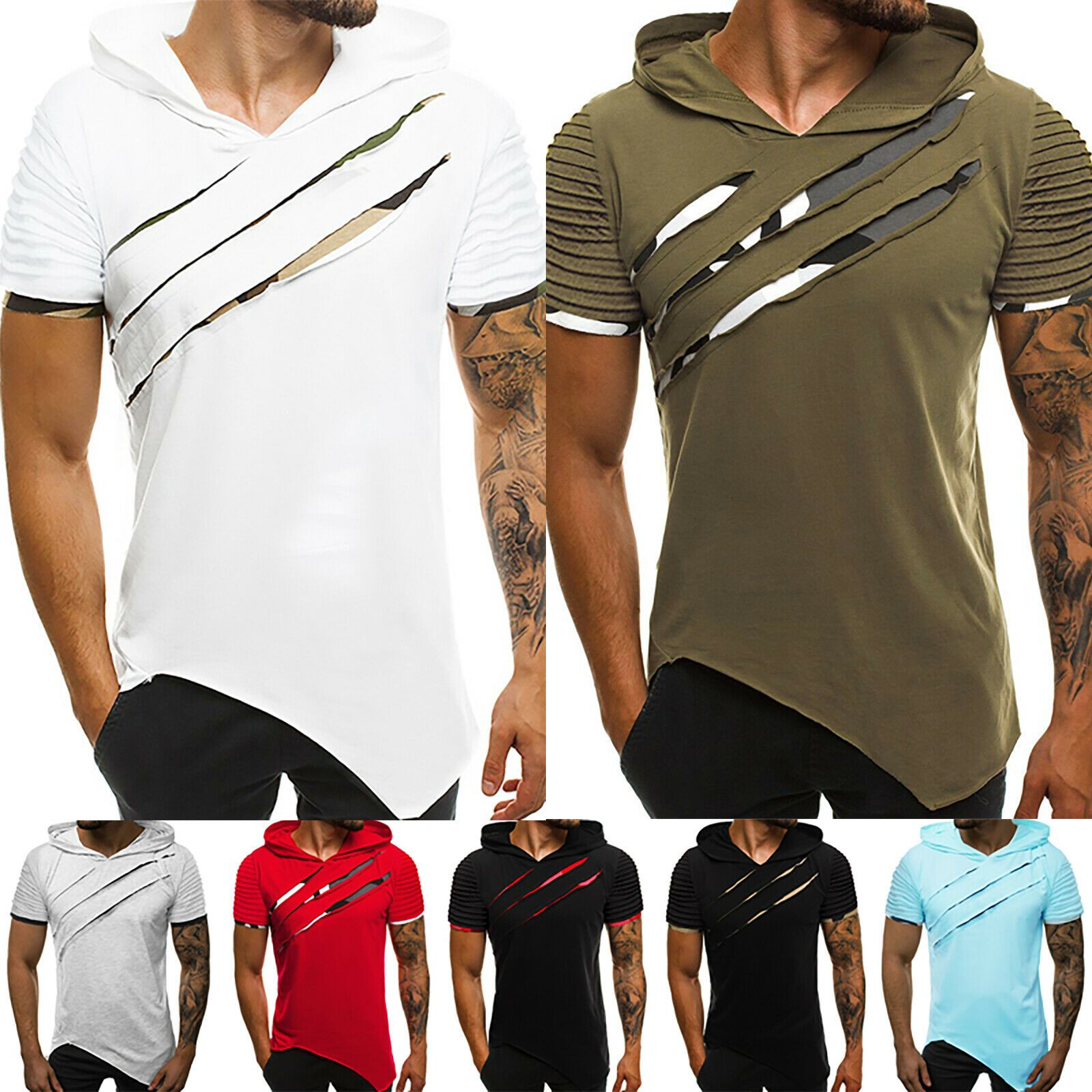 Men Slim Fit Short Sleeve Shirts Hooded Muscle Tops Hoodie Casual Basic T-shirt