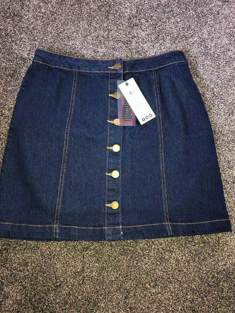 dd9a85655b Boohoo Size 12 Blue Denim Mini Skirt Button BNWT #fashion #clothing #shoes #
