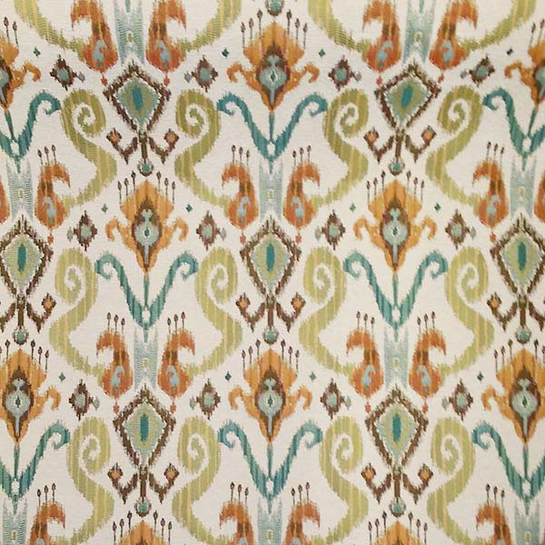 This Is A Green Blue Gold Orange And Brown Ikat Design