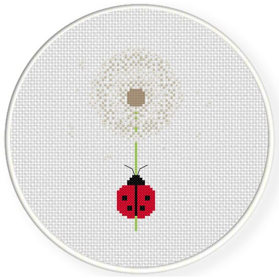 Free Ladybug In Dandelion Cross Stitch Pattern In 2020 Cross Stitch Patterns Simple Cross Stitch Cross Stitch