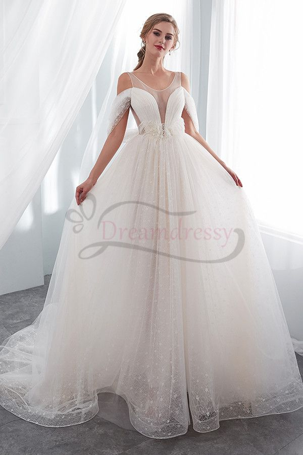 Elegant White Tulle Long Wedding Dress With Feather Tina Formal