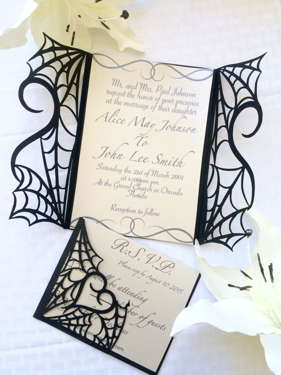 Gothic halloween wedding party invitation set on etsy - would make ...