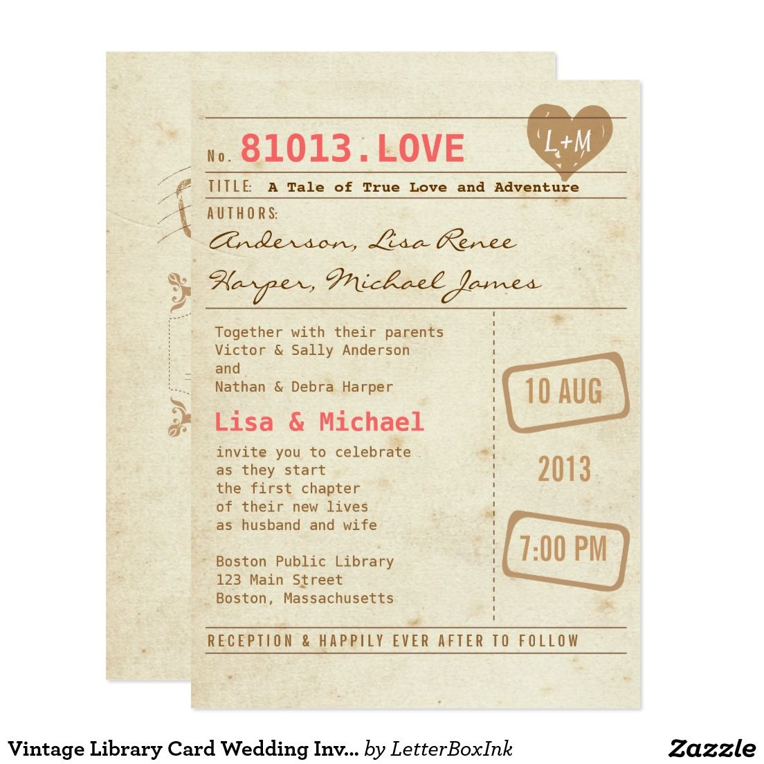Vintage Library Card Wedding Invitation | Wedding Ideas for Jones ...