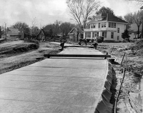 This 1953 photo shows the first concrete being poured for the Northwest Radial Highway. The view isto thenorthwest from 47th Street and Military Avenue. THE WORLD-HERALD  Like anything you see? Contact Michelle at Michelle.Gullett@owh.com or call 402-444-1014 to purchase prints.