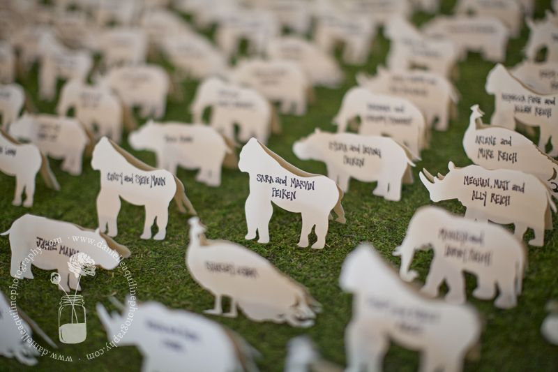 Escort cards for a zoo wedding!