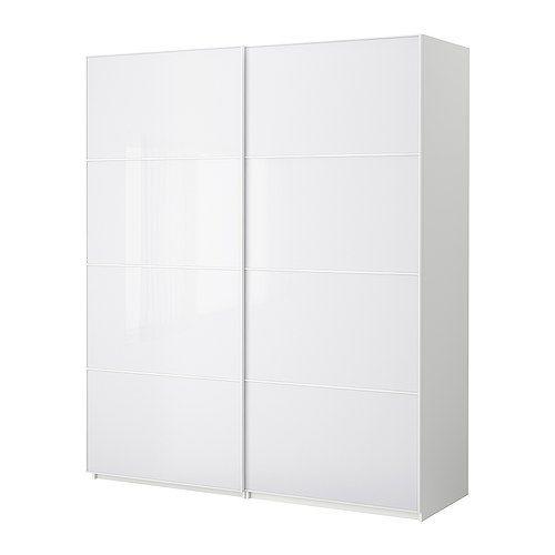 PAX Šatník s posuvnými dverami - biela, 200x66x236 cm - IKEA