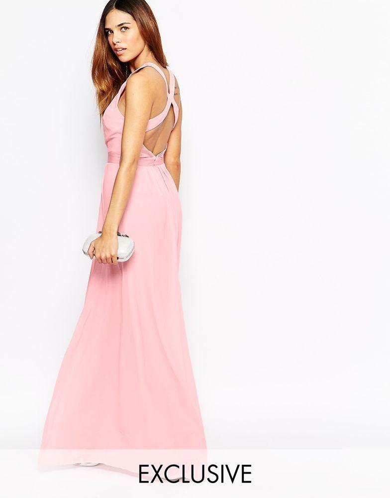 Warehouse @ ASOS Cross Back Maxi Evening Dress in Light Pink UK 10 ...