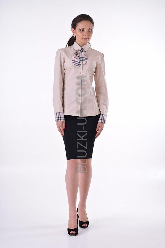 d36dc110600 Бежевая блузка-рубашка с контрастными клетчатыми манжетами и съемным  галстуком