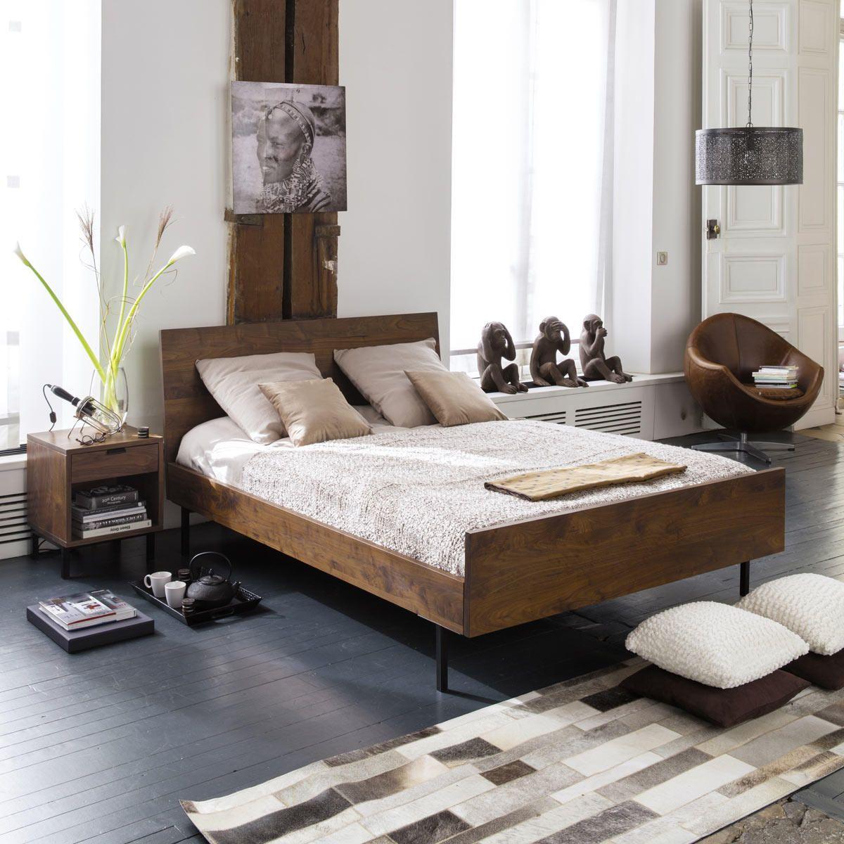Holzbett design  Holzbett aus massivem Nussbaum, 140 x 190 cm Berkley | Maisons du ...