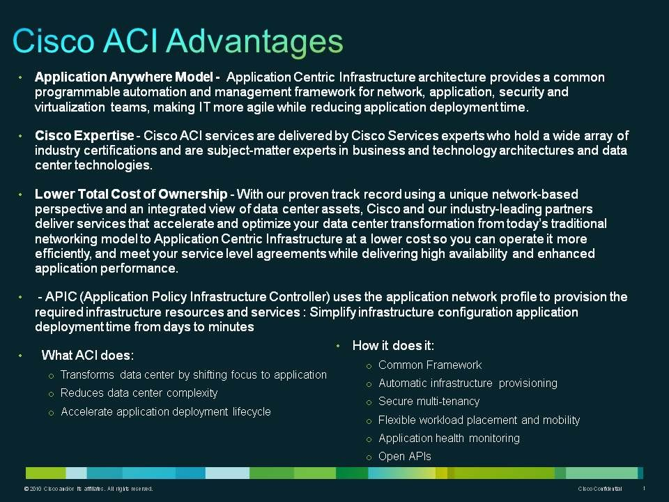 Cisco Aci Advantages  Aci  Sales Playbook