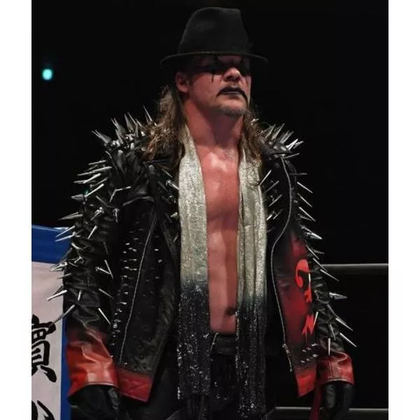 Chris Jericho Aew Black Jacket With Spikes In 2021 Black Jacket Celebrity Jackets Halloween Jacket
