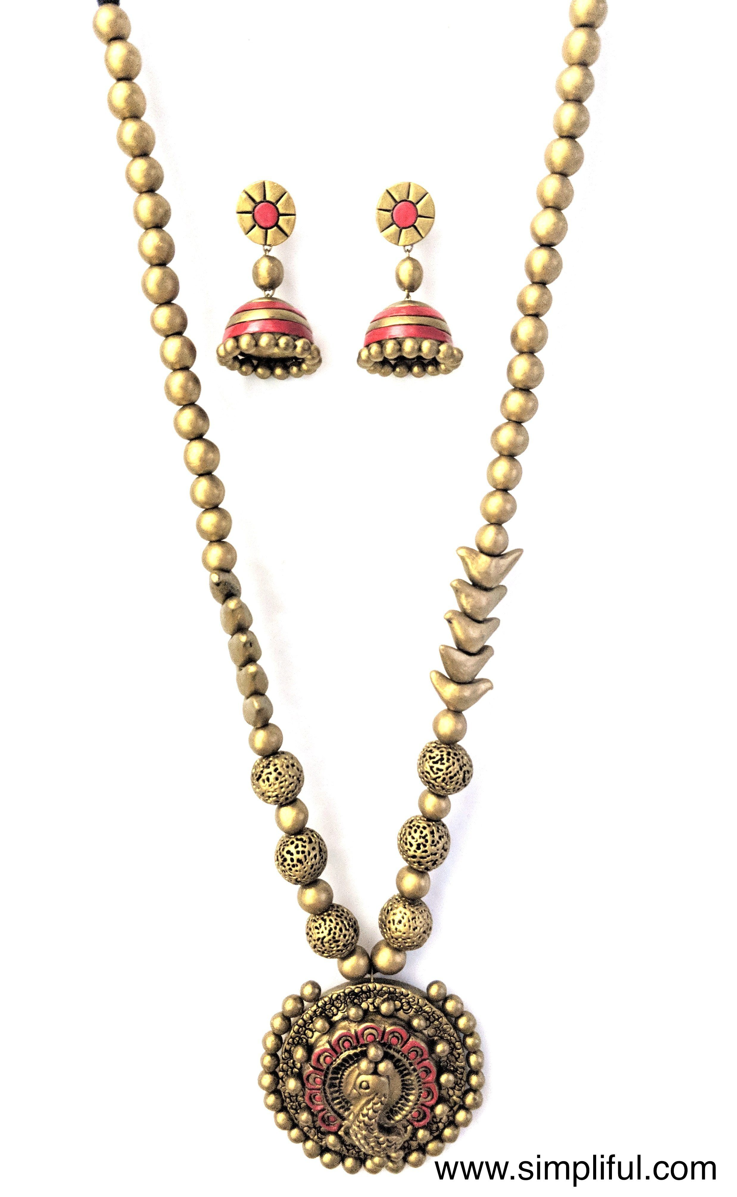 Unique Handmade Terracotta Necklace And Earring Set Please Allow Slight