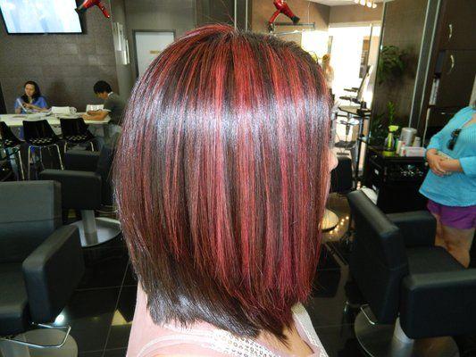 Highlight Haircut Irvine 92604 Red Highlight A Line Bob Haircut R
