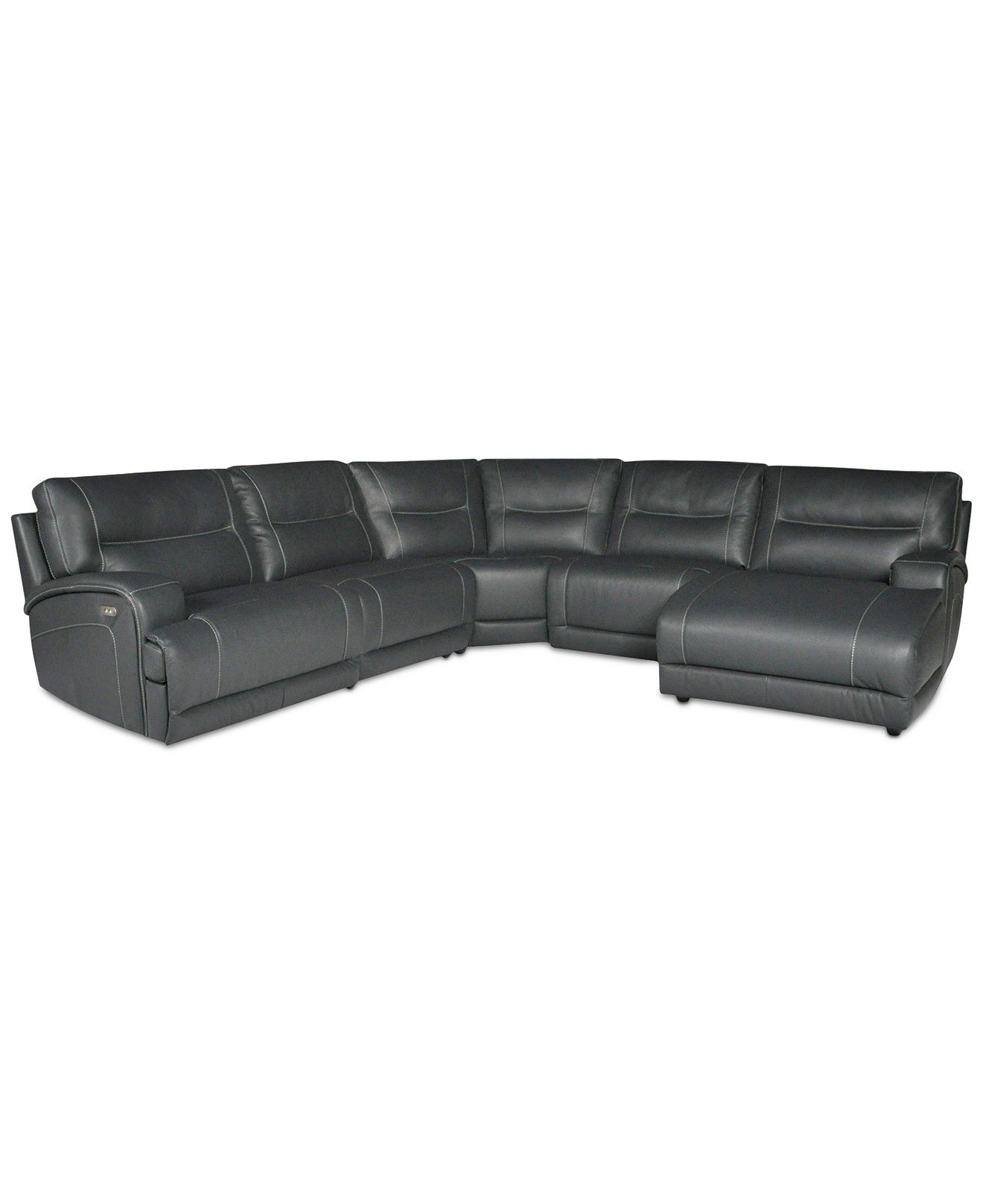 Caruso Leather 5 Piece Chaise Sectional Sofa With 1 Powered Recliner