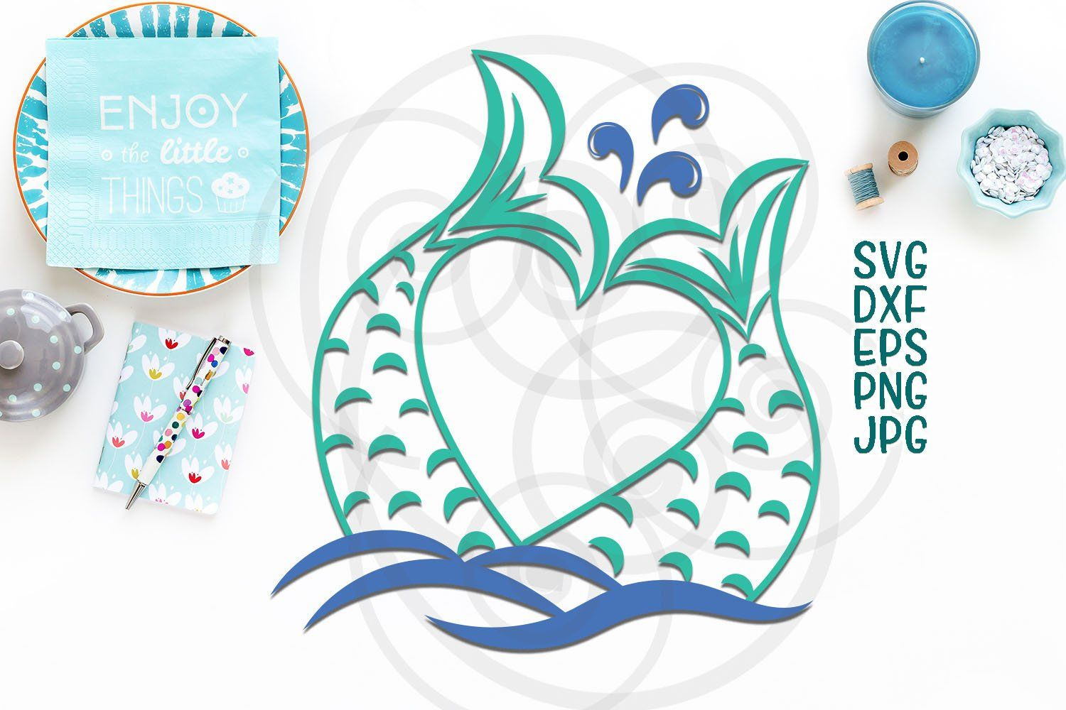 Mermaid tail svg, mermaid tail heart monogram svg file