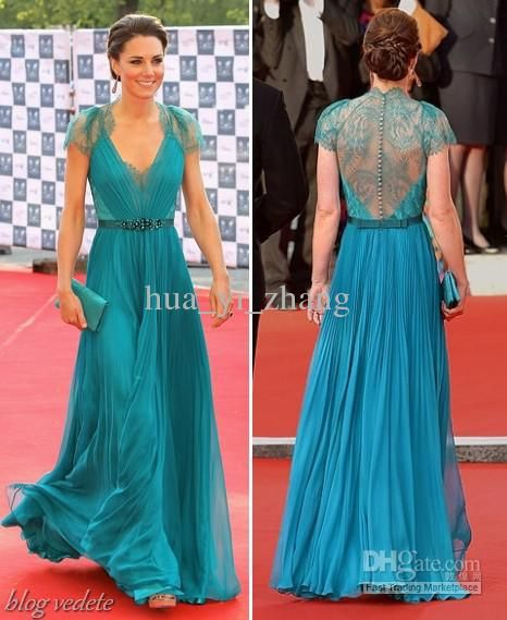 Wholesale Sexy Teal Lace Chiffon Celebrity Dress A Line V Neck Cap Sleeves  Red Carpet Gown Kate Middleton 048cb4fbdc34