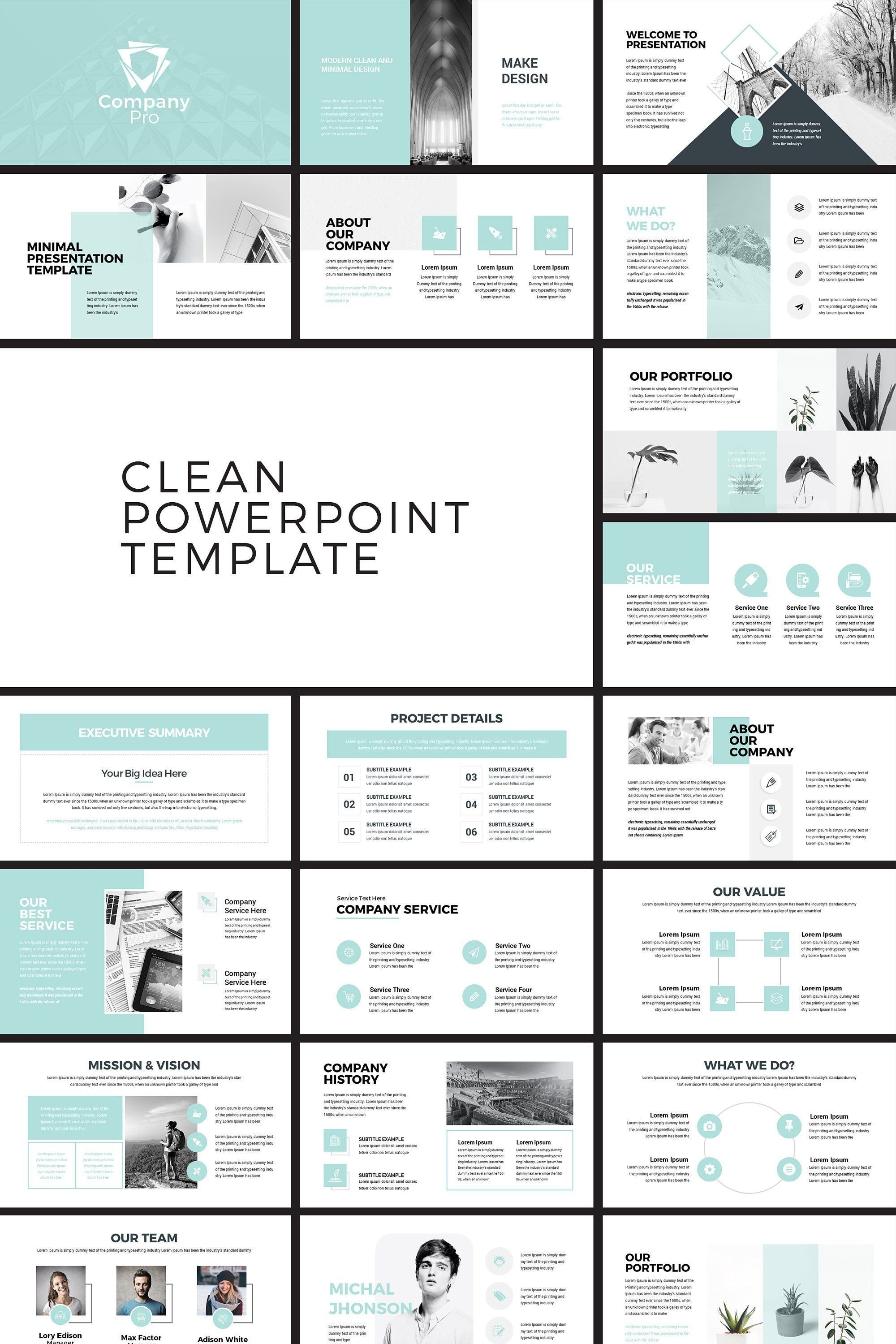 Company Pro Clean Business PowerPoint Presentation Template