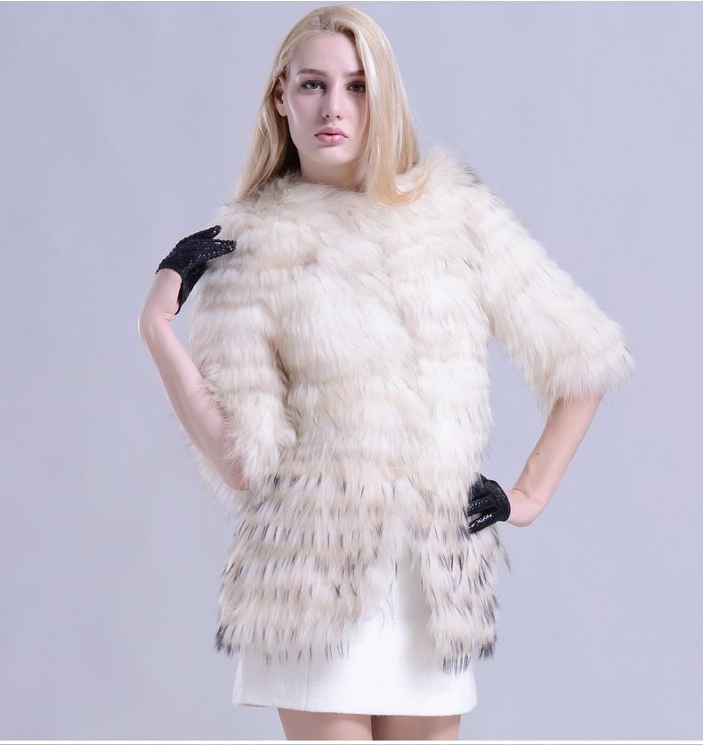 Luxury Real Raccoon Fur Coat Long Raccoon Fur Jacket White Fur Coat Women With Half Sleeves For Women For Sale Brand Design $737.70