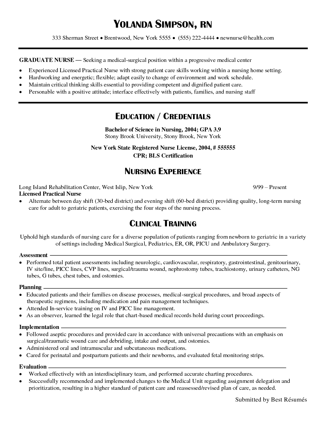39++ New nurse resume sample Resume Examples