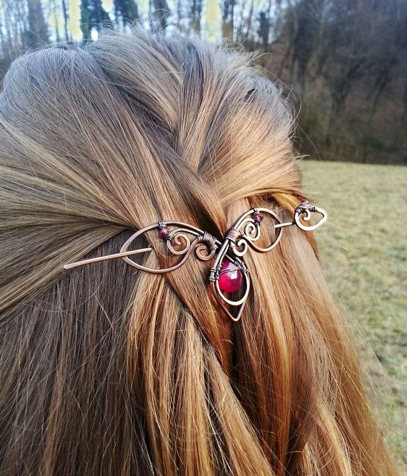 Metal hair slide – Agate hair slide Gift for her – Copper hair pin Rustic barrette Shawl pin – Gift for Women Accessories for hair