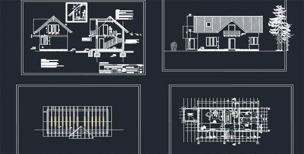 00000Wooden House Detail AutoCAD Drawings Free DWG Free