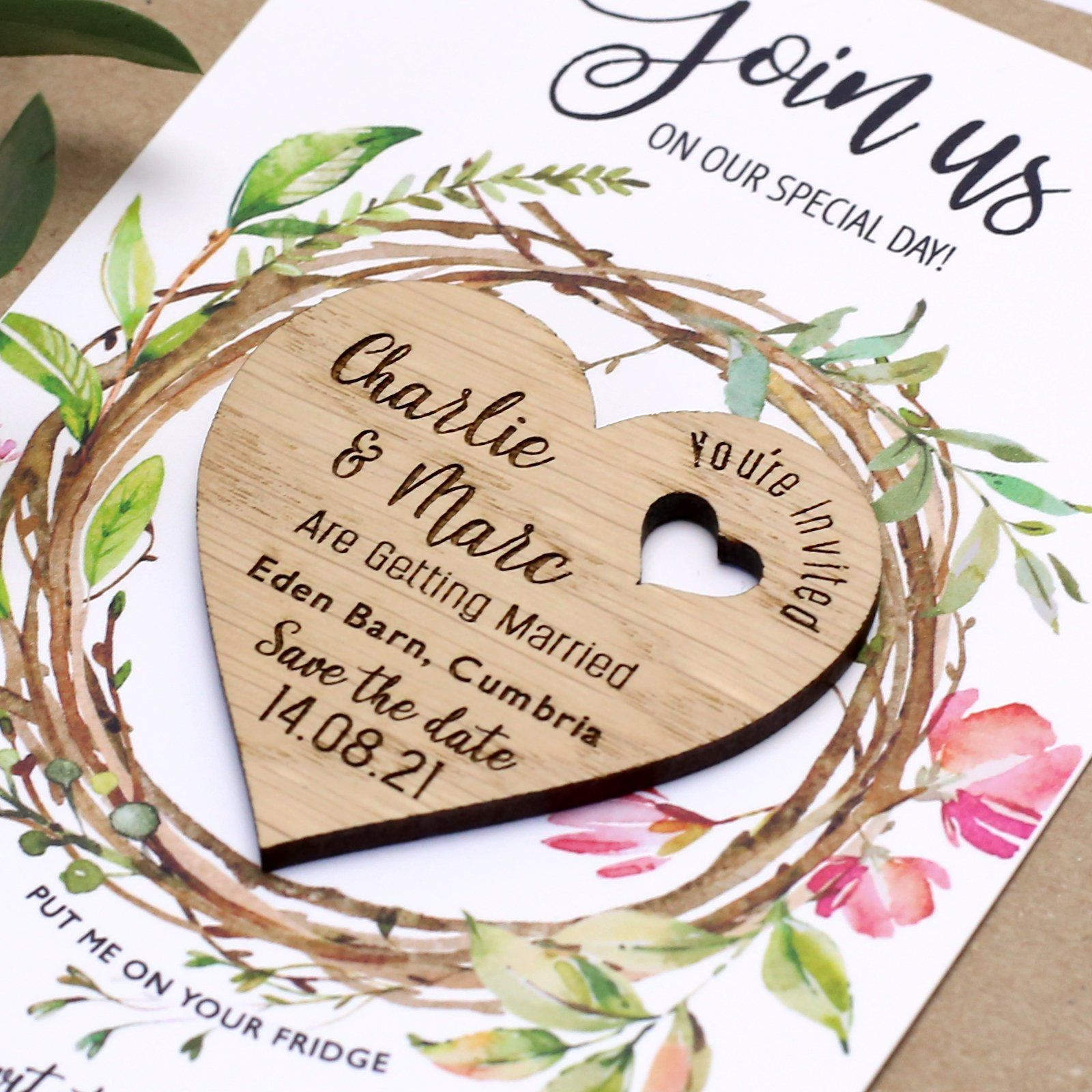 Save The Date with Cards, Personalised Rustic