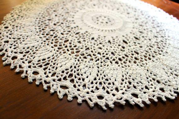 Crochet doily white 15 by Draiguna on Etsy
