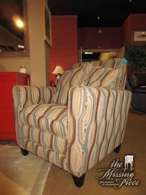 Best Haverty S Accent Chair In A Brown And Blue Contemporary 400 x 300