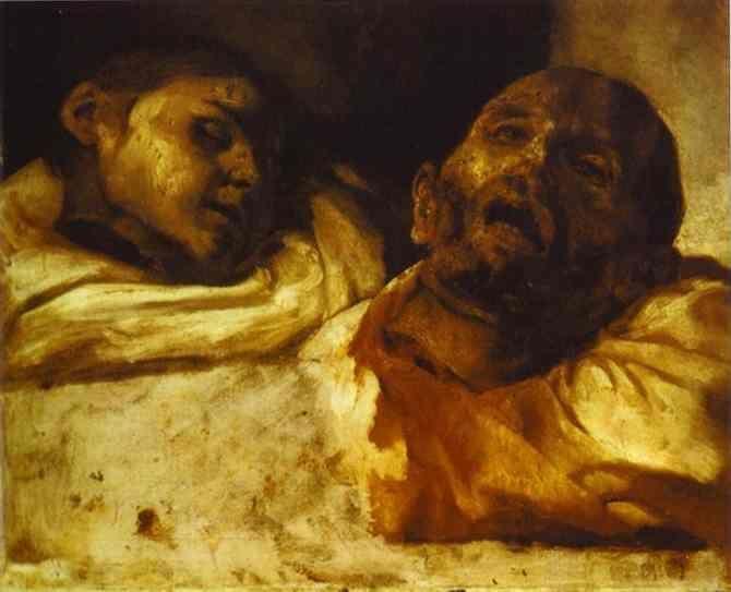 Heads Severed (1818) Théodore Géricault. Op het eerste gezicht lijkt dit beeld niet afschrikwekkend, alsof er twee mensen liggen te slapen. Dit wordt veroorzaakt door de lakens en de gesloten ogen. Hierdoor geeft het beeld een kalm gevoel. Als je echter langer kijkt zie je het bloed en de vertrokken gezichten waardoor je je ongemakkelijk en niet op je plaats voelt. Door het gezichtspunt krijg je het gevoel alsof je ook een los hoofd bent die er bij ligt, als kijker zit je op de zelfde…