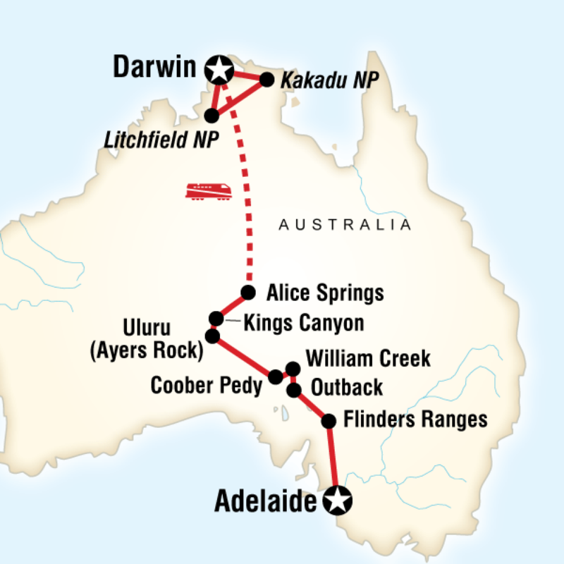 Map of the route for Outback to the Top End Adelaide to Darwin G