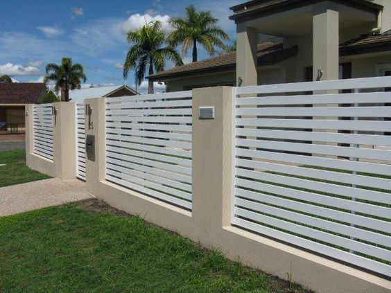 DIY 65*16 Aluminium Slat Fencing Brick Infills Entry Gate Privacy