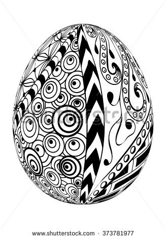 Zentangle Easter Egg with decorative ornate isolated on white background..Use for coloring, cards, invitation, pattern fills, web pages elements and etc. - stock vector
