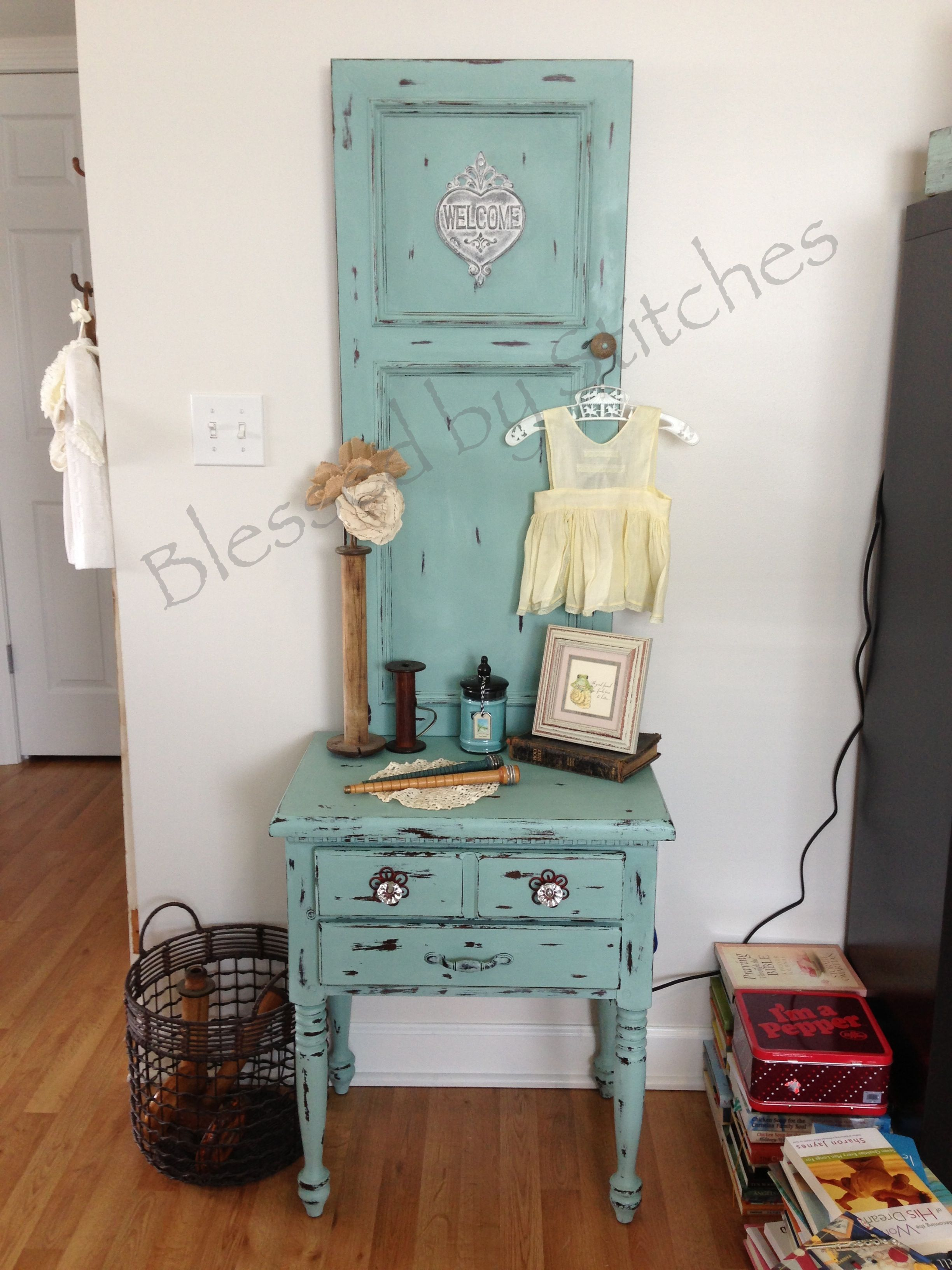 Mini Hall Tree Made From A End Table And Cabinet Door Repurposed