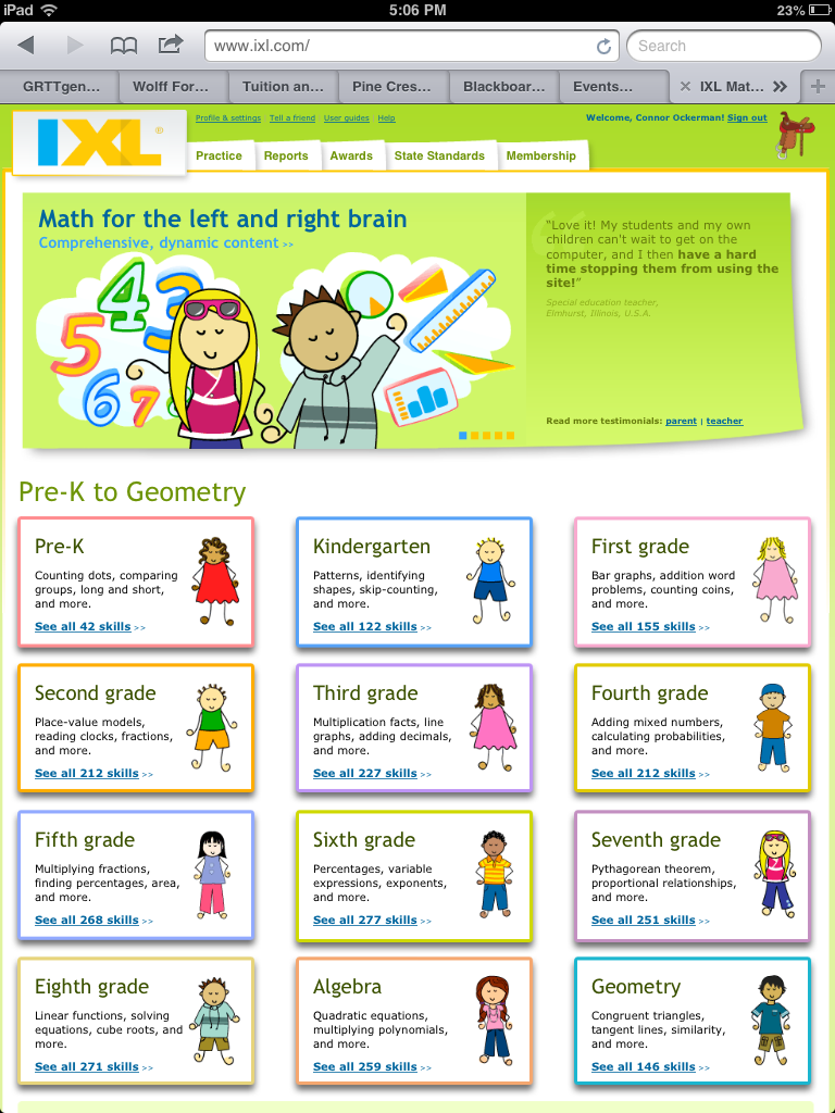 The students in Pre-Kindergarten through Grade 5 use IXL to ...