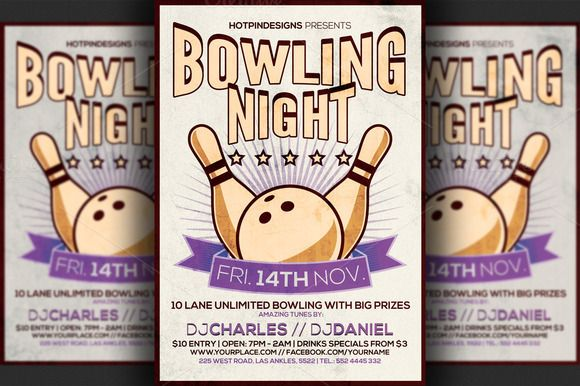 Bowling Night Flyer Template  Flyer Template Template And Print