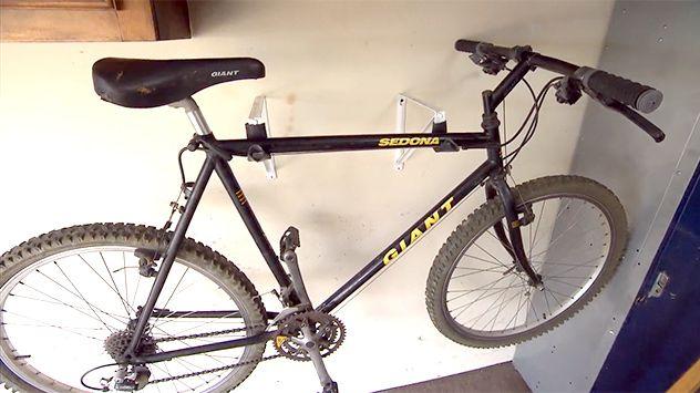 Hanging Bikes With Closet Shelf Brackets Storing bikes