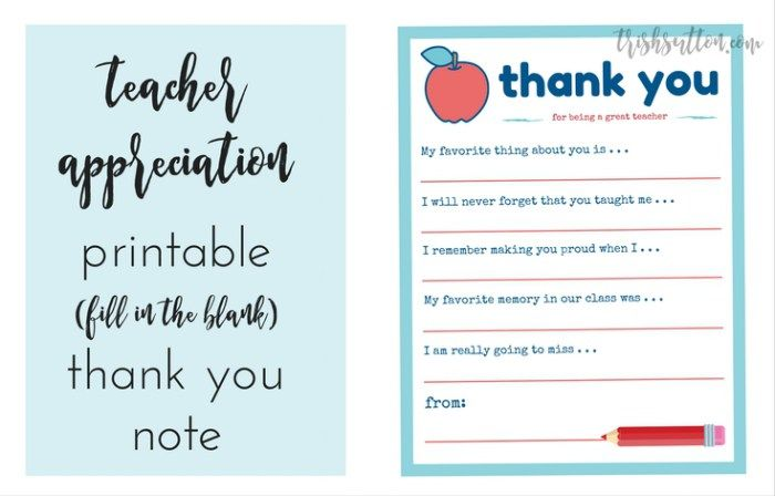 Teacher Appreciation Week Printable Thank You Note Fill The Blank