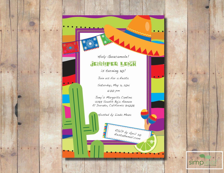 Fiesta Birthday, Cinco De Mayo or Bridal Invite Printable or ...