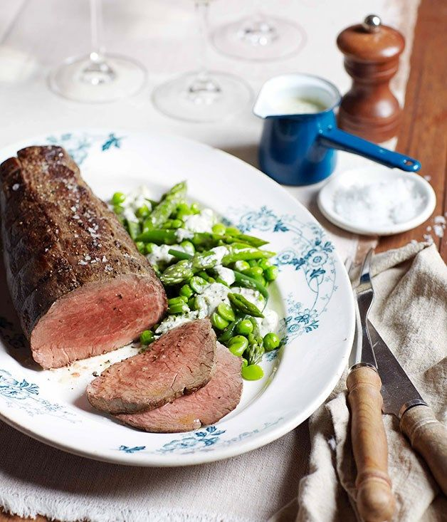 Australian Gourmet Traveller wine match recipe for rare roast beef with spring greens and green goddess dressing. #food #yummy #recipes