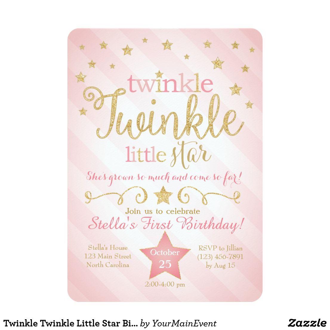 Twinkle Twinkle Little Star Birthday Invitation | Twinkle twinkle ...