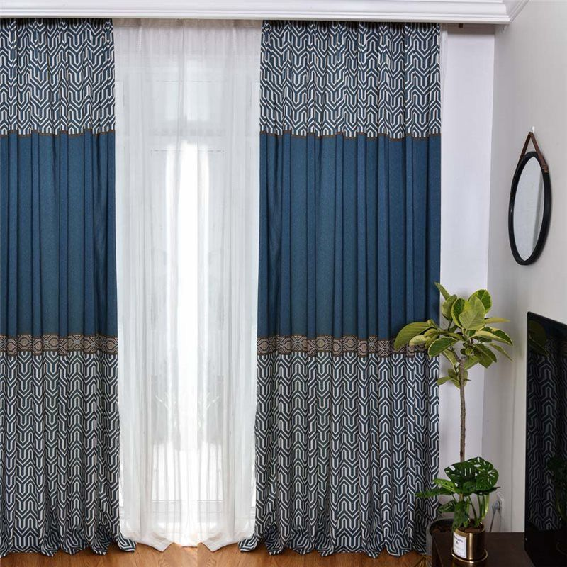American Retro Curtain Imitated Splicing Printed Curtain Living Room Bedroom Fabric One Panel Curtains Living Room Living Room Decor Curtains Curtain Colours Living Rooms #print #curtains #living #room