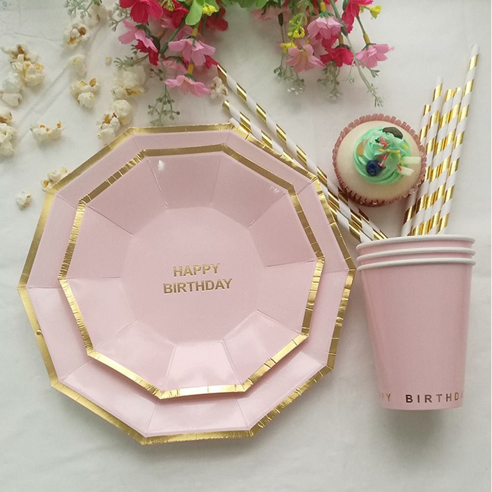 49pcs Lot Birthday Party Dinnerware Set Disposable Plates And Cups Straws Decorative Paper Tableware Food Disposable Tableware Disposable Plates Dinnerware Set