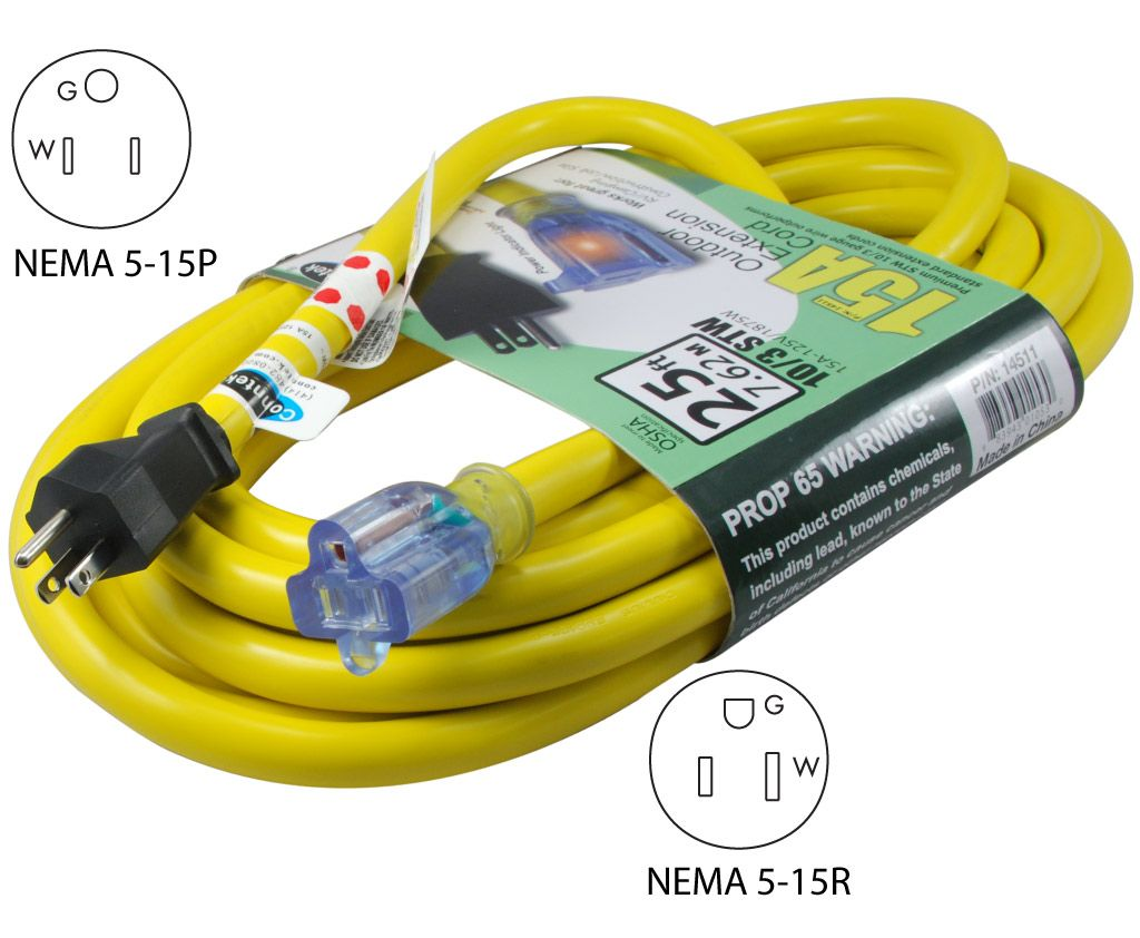 Conntek 14511 25ft outdoor extension cord 103awg with